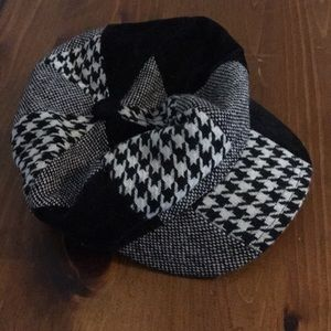 Houndstooth Patchwork Black and Grey Hat